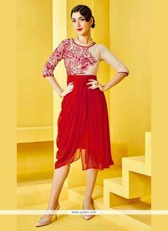 Congenial Georgette Red Designer Kurti Model: YOKU284