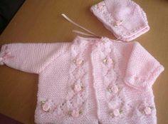 Pretty In Pink Baby Girls Rosebud Jacket - maallure Baby Dress Pattern Free, Baby Cardigan Knitting Pattern Free, Baby Dress Patterns, Baby Hats Knitting, Knitting For Kids, Baby Knitting Patterns, Knitted Baby Outfits, Knitted Baby Clothes, Spool Knitting