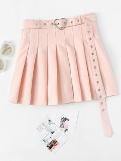 Shop Self Tie Waist Box Pleated Skirt at ROMWE, discover more fashion styles online. Box Pleat Skirt, Box Pleats, Pleated Skirt, Girls Fashion Clothes, Girl Fashion, Fashion Outfits, Clothes For Women, Fashion Design, Sheer Mesh Top