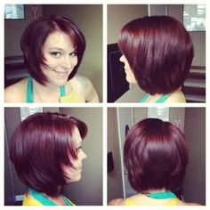 Edgy bob cut; color Redken 6R color gels love my redheads ❤ red