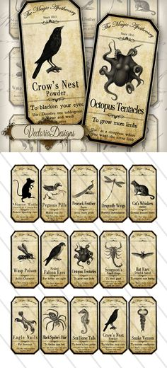 Printable Magic Animals Apothecary Labels by VectoriaDesigns