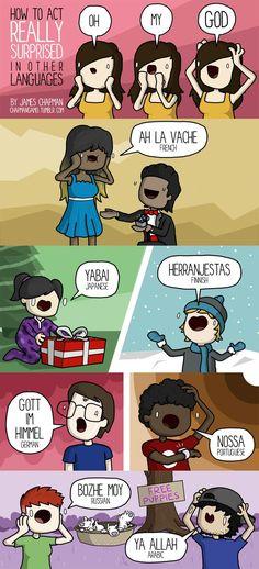 Aprende a hacerte el verdadero sorprendido en varios idiomas