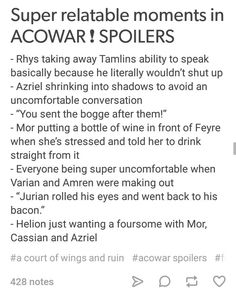 Idk about relatable but definitely great moments ACOWAR SPOILERS!!!!