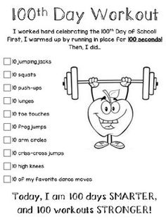 Enjoy a fun workout for you and your kiddos on the day of school! This is a great activity to do within your centers. Enjoy a fun workout for you and your kiddos on the day of school! This is a great activity to do within your centers. 100 Days Of School Centers, 100th Day Of School Crafts, 100 Day Of School Project, First Day Of School, School Days, School Projects, School Stuff, Pe Activities, Kindergarten Activities