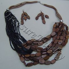 Wood Necklace  jewelry in Black, Brown - Material: Wood , Beads -  - $10 -- Features: Wood beaded necklace and earring set #Necklace #Necklaces #Fashion #Jewelry #Jewels #Jewellery