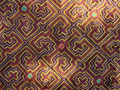 The Shipibo people are native to the Peruvian Amazon. Traditionally, the women create these beautiful hand embroidered textiles depicting visions experienced in ceremony with Ayahuasca Shaman.