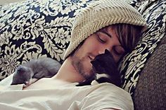 Awwww...I want a picture of my boyfriend cuddled with kittens now.