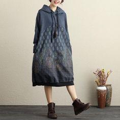 Hooded Long Sleeve Side Pockets Ethnic Printing Dark Blue Dress For Women