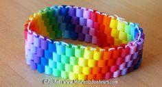 bracelet perles hama cousues tissées en arc-en-ciel