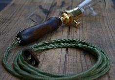 Wooden Handle Pendant Lamp - Bungalow Trouble Light. $85.00, via Etsy.