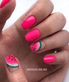 Watermelon Nail Designs, Watermelon Nails, Dope Nails, Neon Nails, Fruit Nail Art, Food Nail Art, Camo Nails, Wedding Nail Polish, Pointy Nails