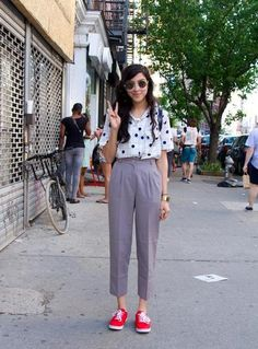 Spring Street Style - NYC - pants + top + shoes