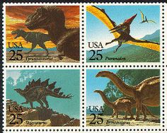 Se-tenant block of four stamps  Dinosaurs   1989-10-01