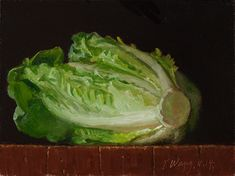 A lettuce still life oil painting by Youqing (Eugene) Wang.