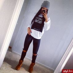 Black Pants with White Crew Neck and Timberlands with Grey Beanie