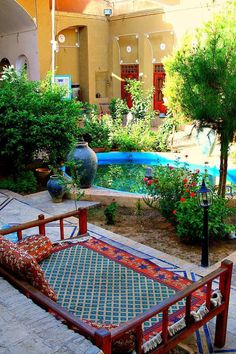 Iran,Garden of the Silk Road Hotel, Yazd (photographer: R. Outdoor Spaces, Outdoor Living, Outdoor Decor, Iran Pictures, Persian Architecture, Persian Garden, Beautiful Places, Beautiful Pictures, Iran Travel