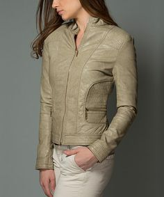 Look what I found on #zulily! Cream Faux-Leather Moto Jacket by Kokette #zulilyfinds