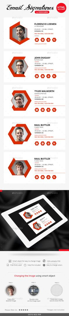 Email Signature - 5 Templates  — PSD Template • Only available here ➝…