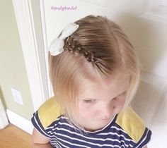 baby girls bob hairstyle with braided bang