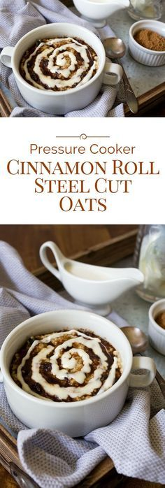 Why have plain boring oatmeal when you can have Pressure Cooker Cinnamon Roll Steel Cut Oats topped with brown sugar cinnamon and a swirl of cream cheese icing. Instant Pot Pressure Cooker, Pressure Cooker Recipes, Pressure Cooking, Slow Cooker, Electric Pressure Cooker, Best Breakfast, Breakfast Recipes, Breakfast Crockpot, Paleo Breakfast