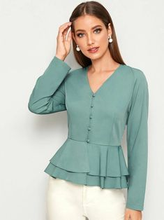 To find out about the Ruffle Hem Button Front Blouse at SHEIN, part of our latest Blouses ready to shop online today! Fancy Tops, Dressy Tops, Stylish Dresses For Girls, New Blouse Designs, Mode Hijab, Blouse Styles, Fashion 2020, Blouses For Women, Women's Blouses