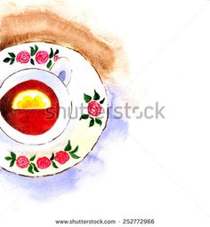 Cup of tea. Hand drawn watercolor painting