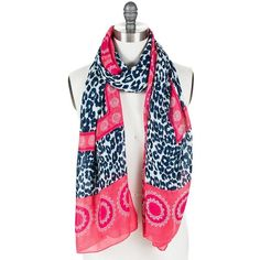 T&C Theodora & Callum Leopard Lace Scarf featuring polyvore, fashion, accessories, scarves, red, lacy scarves, lightweight scarves, leopard print shawl, lace shawl and lace scarves