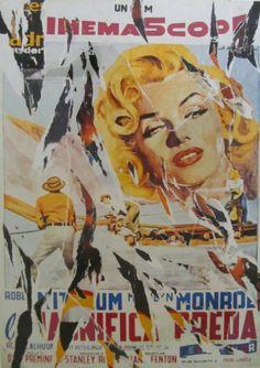 Mimmo Rotella, La magnifica preda, seridécollage, 70x100 cm Il seridécollage, con gli strappi fatti a mano, riproduce il manifesto del western drammatico La magnifica preda diretto da Otto Preminger nel 1954 e interpretato da Marilyn Monroe e da Robert Mitchum. Presenta la firma dell'artista in basso a destra, la sigla P. A. (prova d'autore) e il timbro della Fondazione Mimmo Rotella in basso a sinistra. http://milanoarte.biz/index.php/mimmo-rotella-581.html