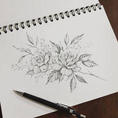 Illustration Art Drawing, Art Drawings, Floral Tattoo Design, Tattoo Designs, Lotusblume Tattoo, Free Hand Drawing, Floral Drawing, Christmas Drawing, Tropical Pattern