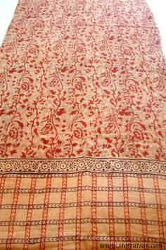 Scarf Organic Cotton Indian Beige and Red Gujarati Hand Block Printed in Natural Dyes from West India #etsy  #gifts
