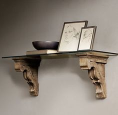 DIY - Make your own shelf from corbels and maybe a piece of wood on top.