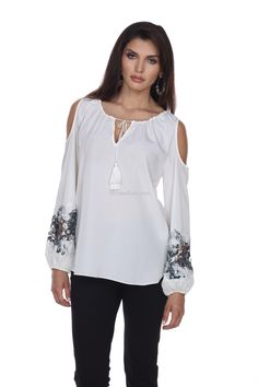663028c427c62 his beautiful blouse from Tesoro Moda combines two of the hottest trends in  Fashion right now  the Folkloric and the Cold Shoulder.