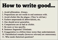 How to write good...
