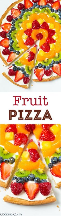 Fruit Pizza - this is one of my favorite summer desserts! Love the sweet cream cheese topping with all the fresh fruit! (recipe for homemade crust and store-bought method included)