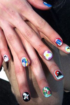 Fun custom Nail wraps at Meadham Kirchhoff AW12 collection. http://www.facebook.com/powderbeautybrighton