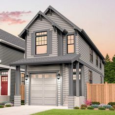 Plan Narrow Lot 3 Bed Craftsman House Plan With 1 Car Garage Duplex House Plans, Garage House Plans, Craftsman House Plans, Best House Plans, Car Garage, Craftsman Homes, Narrow House Designs, Narrow Lot House Plans, Home Design Floor Plans