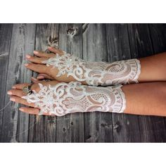 White lace bridal gloves wedding accessories bridal white gloves... ❤ liked on Polyvore featuring accessories, gloves, bride gloves, lace fingerless gloves, white gloves, bridal lace gloves and fingerless gloves