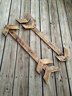 Wall arrow, wood arrow, wooden arrow, rustic wood arrow, arrow decor, arrow sign, wood chevron, woodland nursery, rustic nursery, set of 2 by WoodenThatBeSomethin on Etsy https://www.etsy.com/listing/243201613/wall-arrow-wood-arrow-wooden-arrow