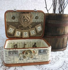 CUSTOMIZE MY SUITCASE  Custom Order Vintage Suitcase Wedding Card Holder, Custom Card Box. $25.00, via Etsy.