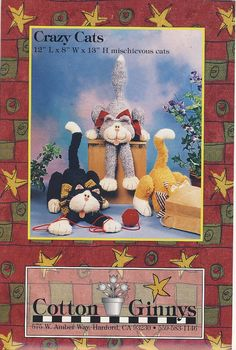 Crazy Cats Stuffed Toy Pattern by Cotton by susanbeingsnippy