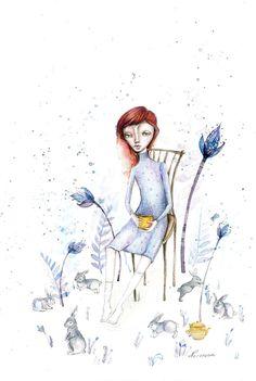 Blue purple Alice Girl portrait tea time by NORAillustration