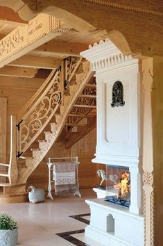 Inside A House, House In The Woods, Wooden Stairs, Wooden House, Cozy Cottage, Cottage Homes, Rustic Staircase, Chalet Interior, Freestanding Fireplace