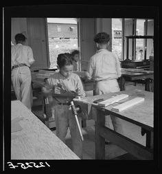 Class in carpentry for resettlers children. La Plata project. Puerto Rico
