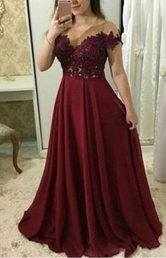 Tight Prom Dresses, Cheap A Line Chiffon Burgundy Floor Length Plus Size Prom Dresses With Appliques Yonkers Bridal Short Sleeve Prom Dresses, Tight Prom Dresses, Plus Size Formal Dresses, Chiffon Evening Dresses, Trendy Dresses, Party Dresses, Dress Party, Lace Chiffon, Dress Formal