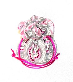 Drawstring Jewelry Pouch Jewelry organizer Cream rust and