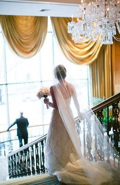 """The """"First Look"""" for our Bride & Groom on our Grand Staircase at Four Seasons Hotel Boston Wedding Poses, Wedding Photoshoot, Wedding Bride, Bride Groom, Gold Wedding, Cute Wedding Ideas, Wedding Pictures, Wedding First Look, Dream Wedding"""