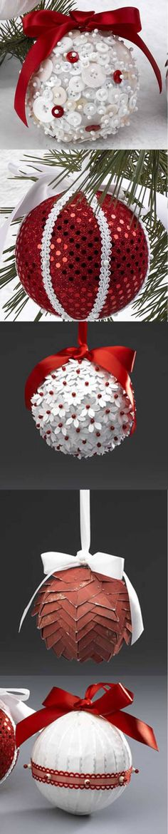 5 Christmas Balls in 5 Minutes Christmas Projects, Holiday Crafts, Christmas Holidays, Elegant Christmas, Beaded Christmas Ornaments, Ball Ornaments, Homemade Christmas, Xmas Decorations, Diy And Crafts