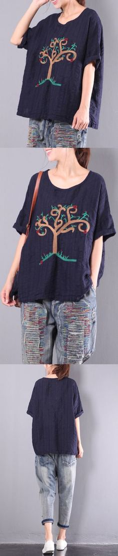navy embroidery linen tops plus size casual t shirt