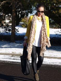 yellow blazer long scarf