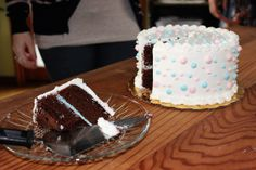 Gender Reveal cake... cut a piece and the inside icing reveals the gender!! :) So cute!!